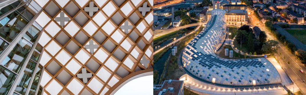 高機能膜材ETFEフィルムを施した大屋根がスウォッチ・グループ新社屋に完成