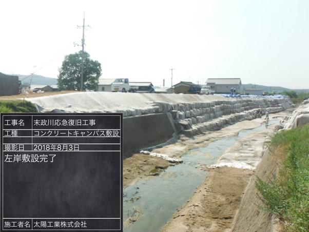 大規模な河岸崩壊を8日で仮復旧した施工事例