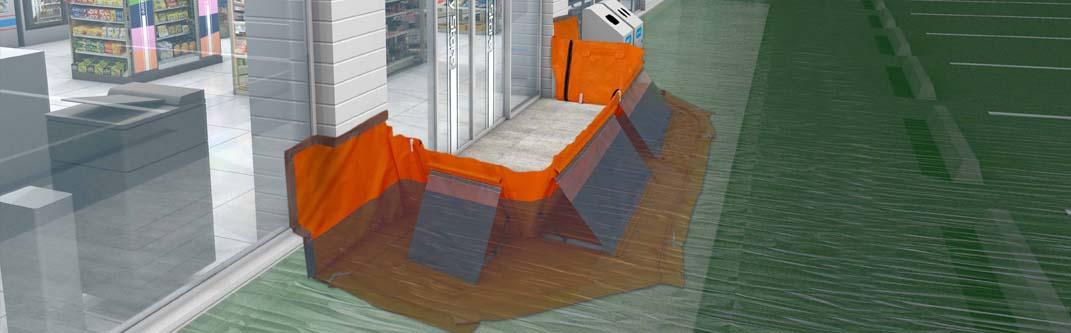 新発想、シートの壁で豪雨の建物浸水を抑制