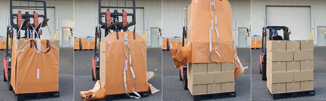 多数の荷物を瞬時に積み替えできるスリットコンテナとは